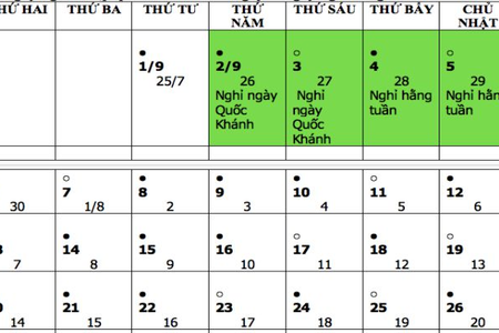 Dịp Tết Độc lập Quốc khánh 2/9 năm nay có 4 ngày nghỉ
