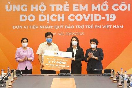 SHB trao tặng 8 tỷ đồng cho 1.600 trẻ em mồ côi do dịch Covid-19